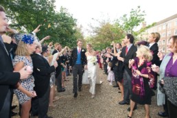 Wedding photography bride and groom confetti