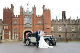 Wedding photography Hampton Court Middlesex car