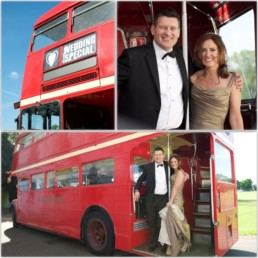 Wedding photograph red London bus Marble Hill House St Margarets Twickenham